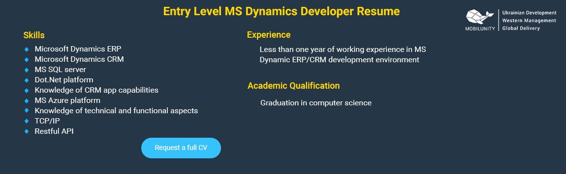 entry level microsoft dynamics resume