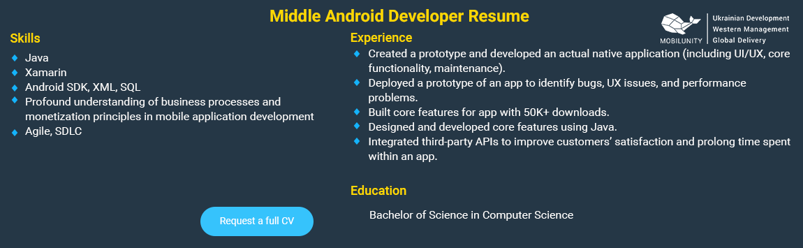 middle android developer resume