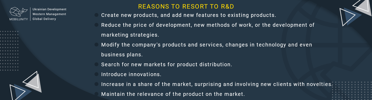 reasons to use research and development in software