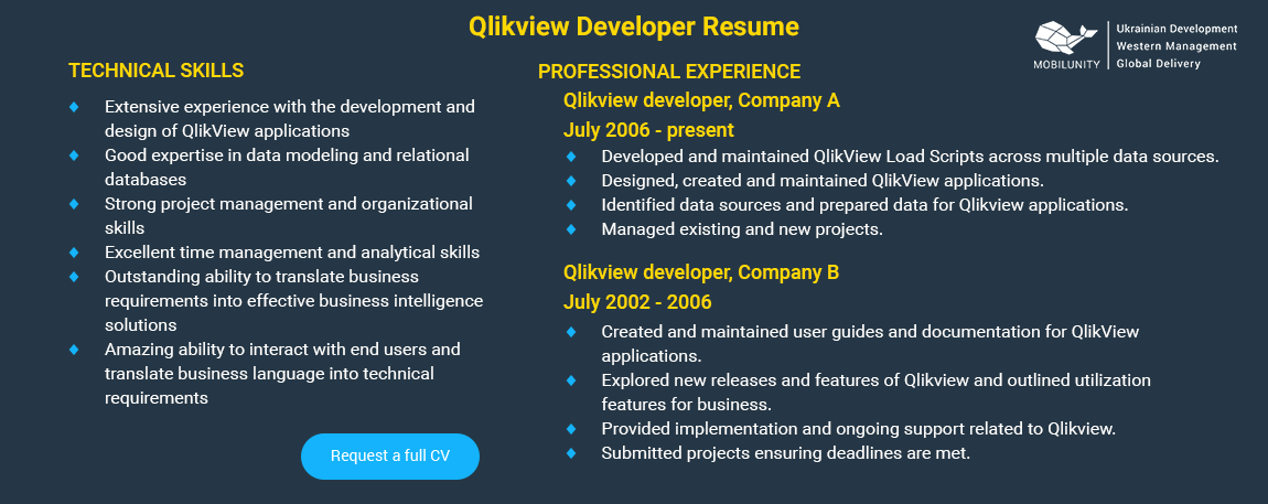 the best qlikview developer sample resume