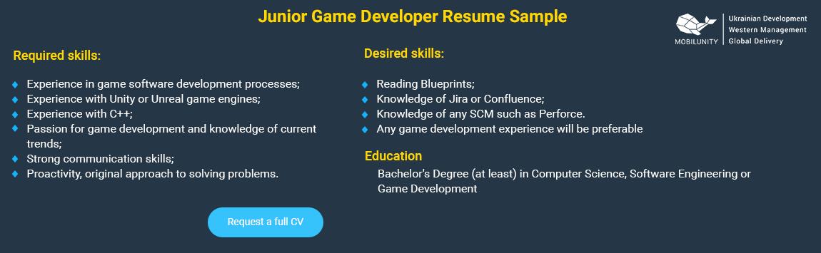 junior game developer resume sample
