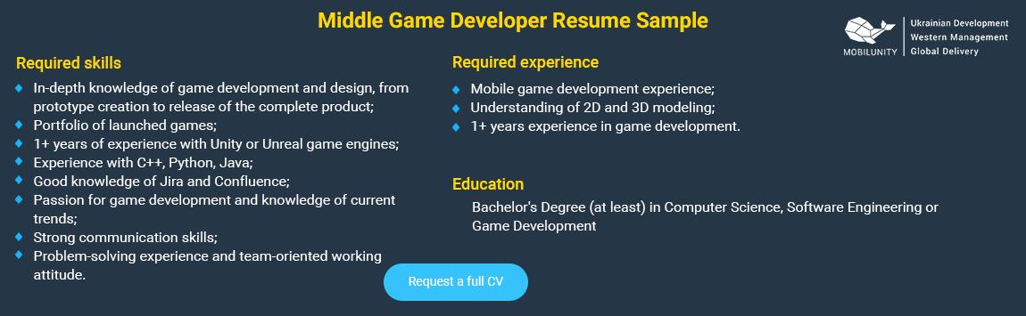 middle game developer resume sample
