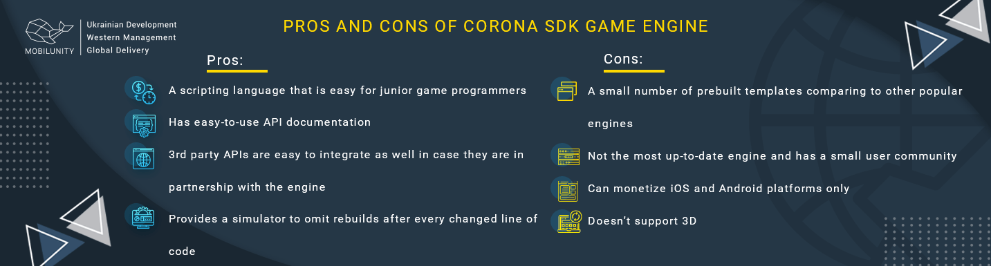 pros and cons of corona sdk game engine
