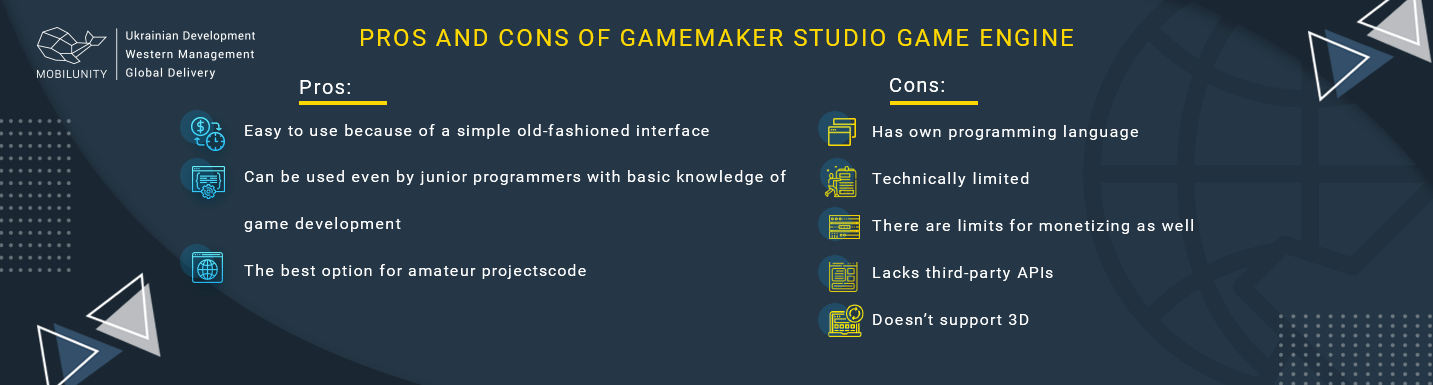 pros and cons of gamemaker studio game engine