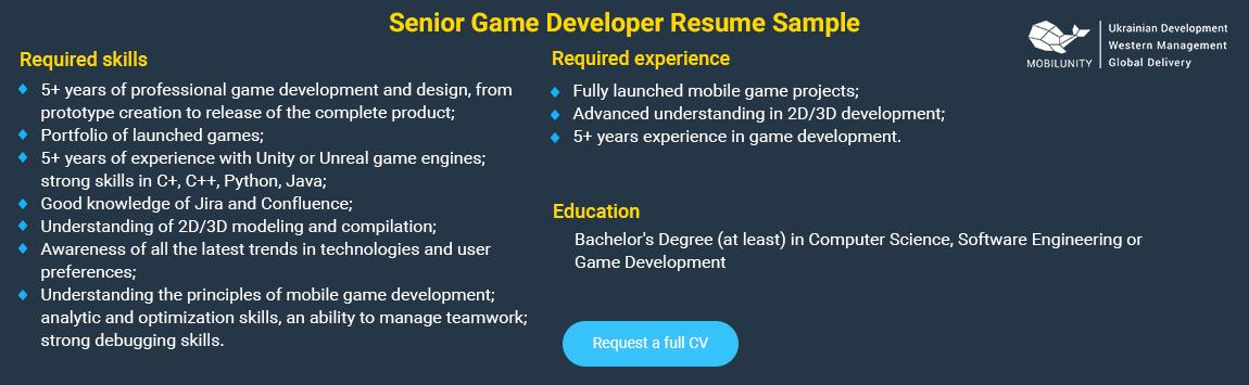 senior game developer resume sample