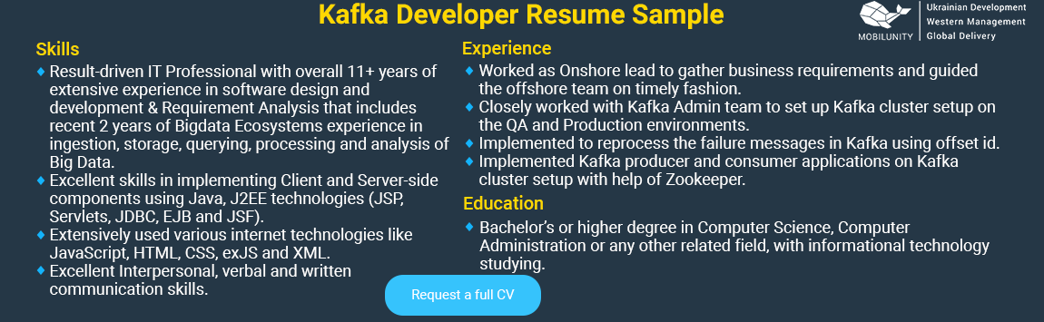 kafka developer resume sample