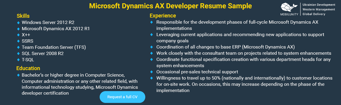 microsoft dynamics ax developers resume