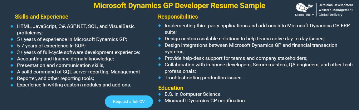microsoft dynamics gp programmer cv sample