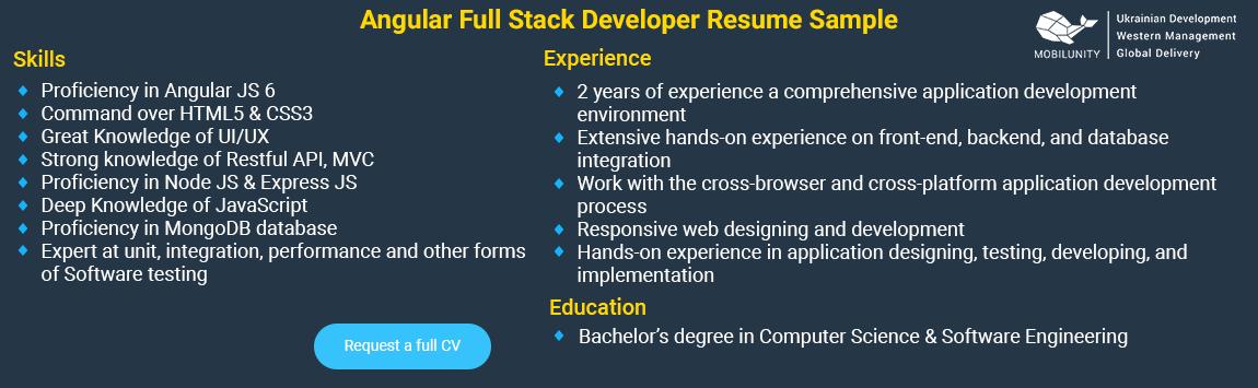 angular 6 full stack developer resume