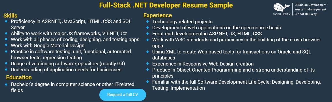 sample of .net full stack developer resume