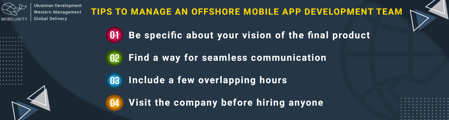 tips to manage offshore mobile software development team