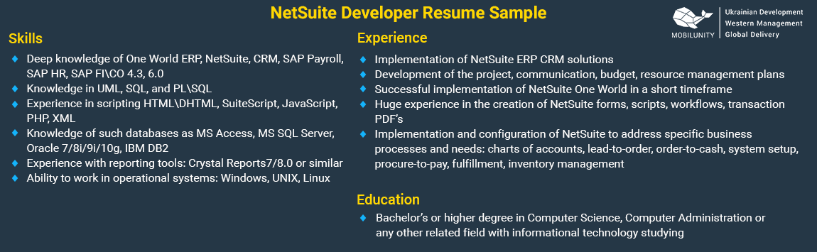 sample of NetSuite developer resume