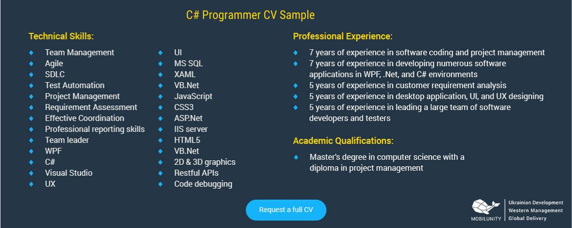 C# programmer cv sample