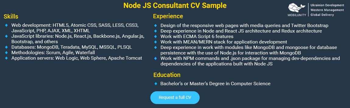 Node.js specialist resume sample
