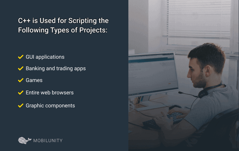 types of projects where c++ is being used