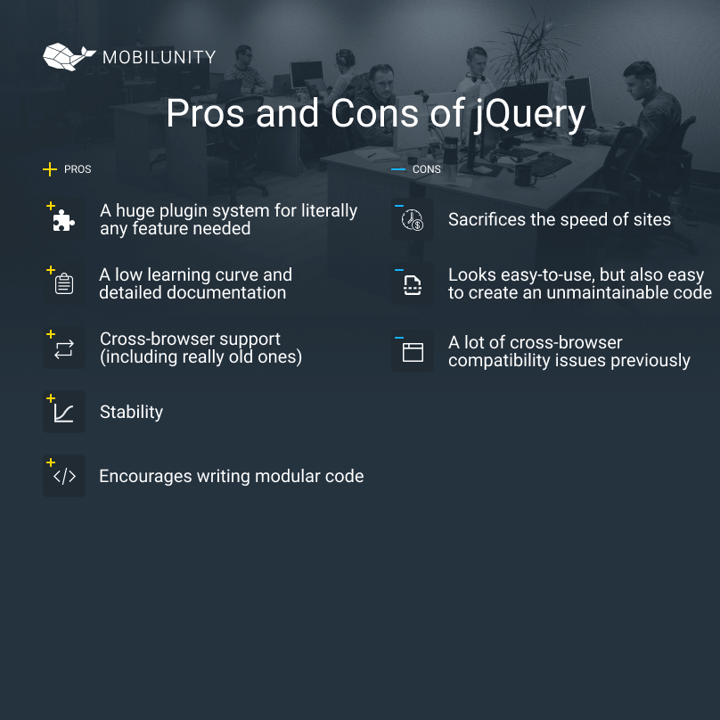 jquery development pros and cons