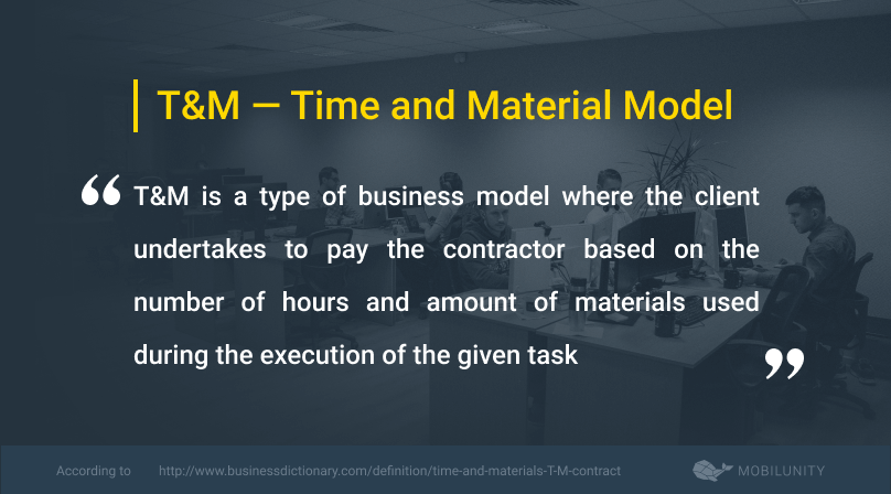 time and material or t&m definition