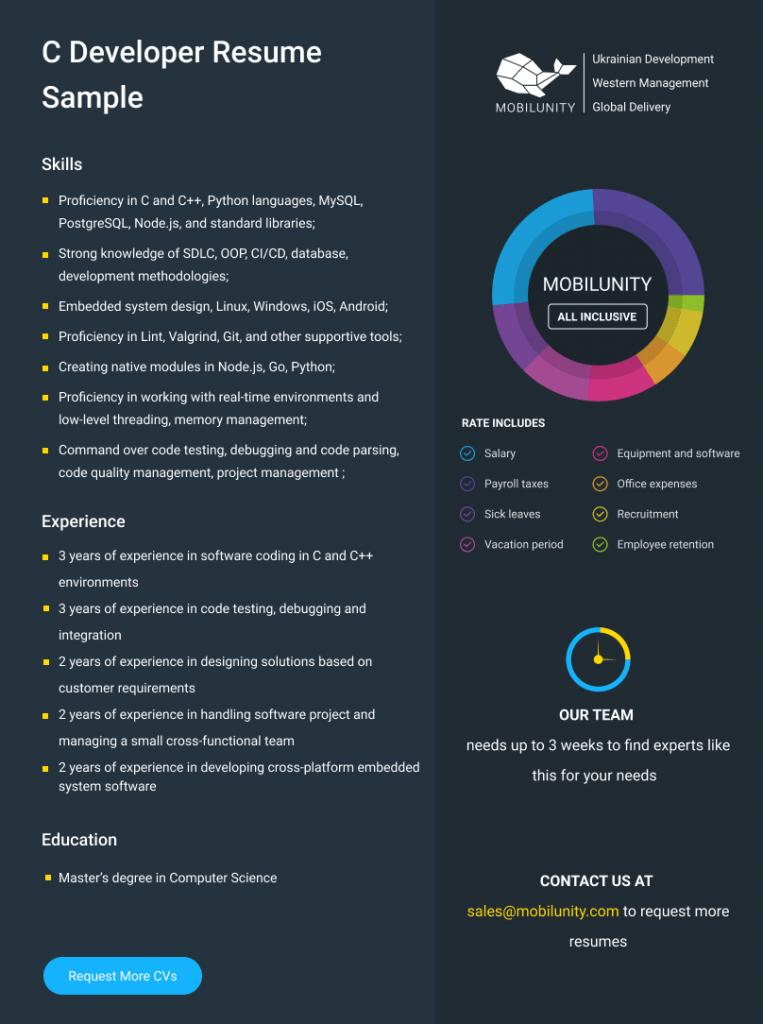 c software engineer resume sample