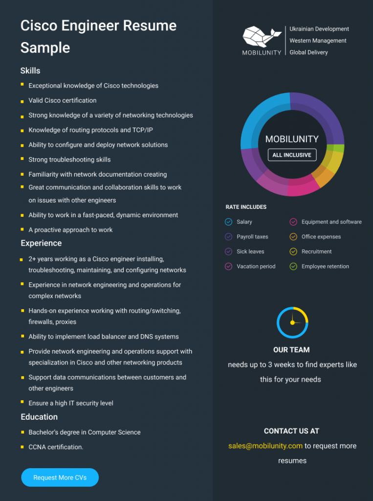cisco network engineer resume sample