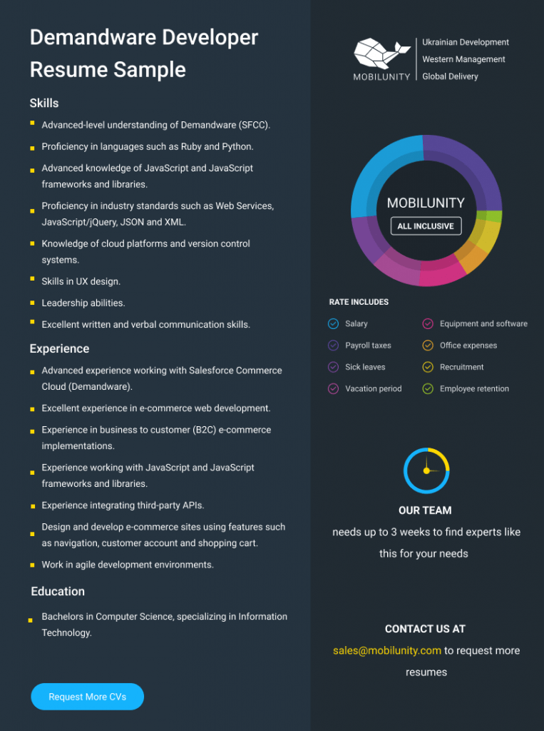 demandware developer cv sample