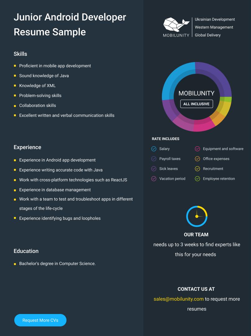 junior android developer cv example