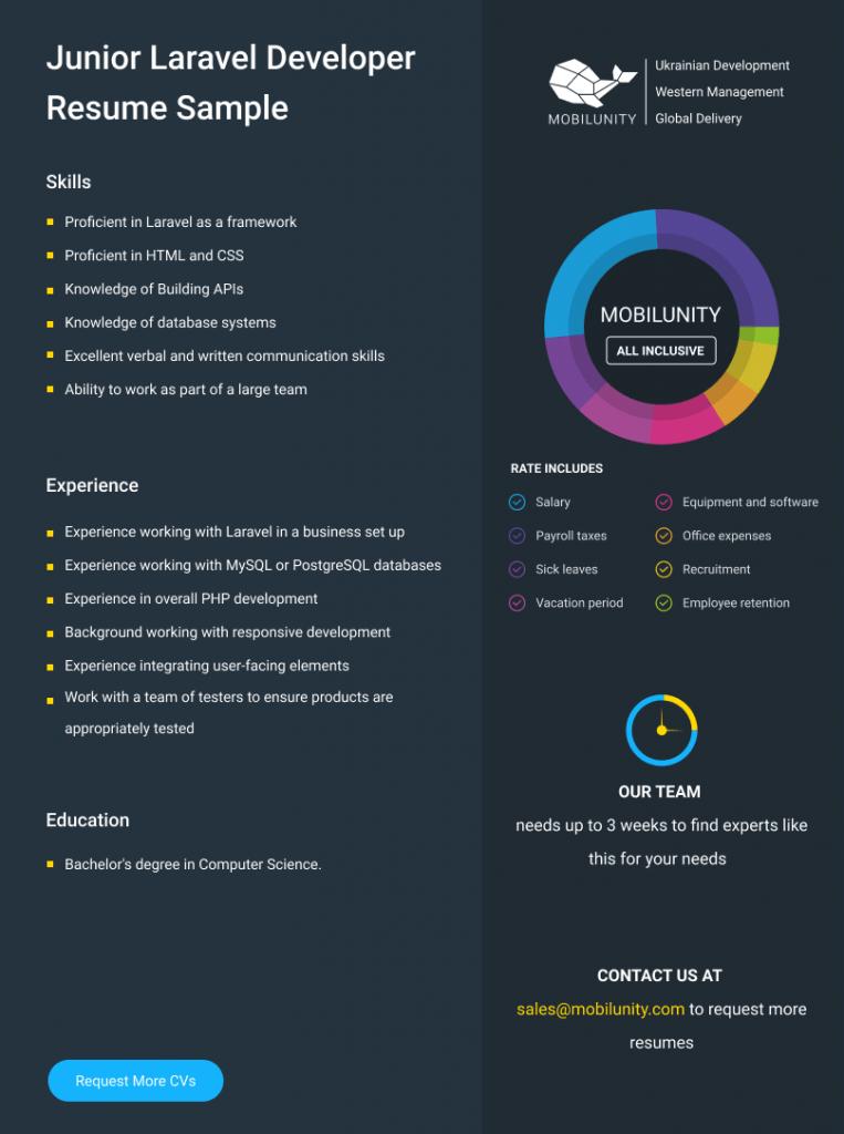 laravel developer resume sample