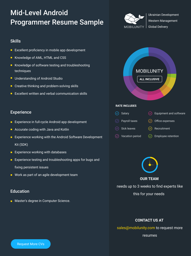 middle android developer resume example