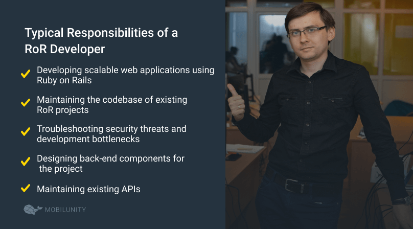 ruby on rails developer typical responsibilities