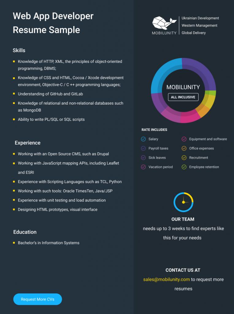 web app developer cv sample