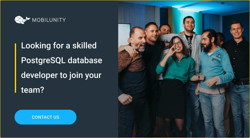 hire postgresql developers at mobilunity
