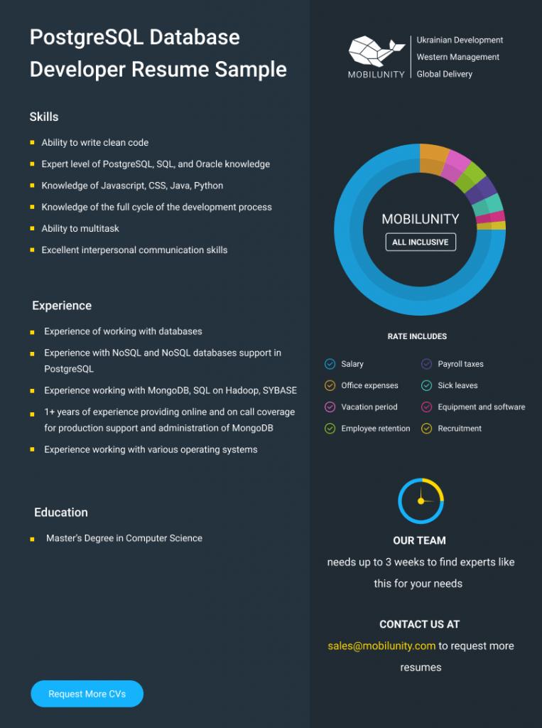 postgresql developer resume example
