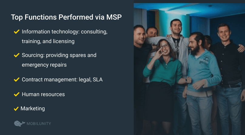 tasks outsourced to MSP services