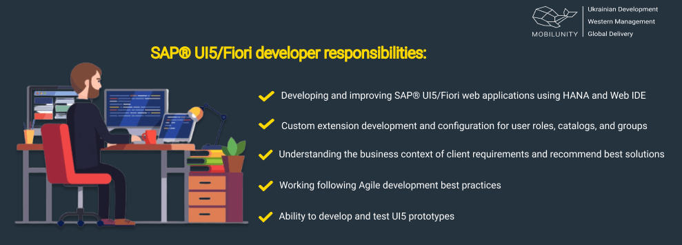SAP® UI5/Fiori developer responsibilities include