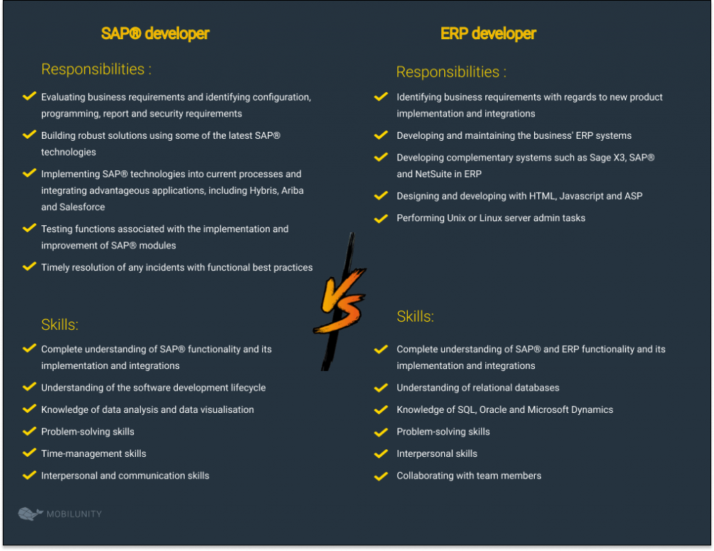 SAP® Developer and an ERP Developer