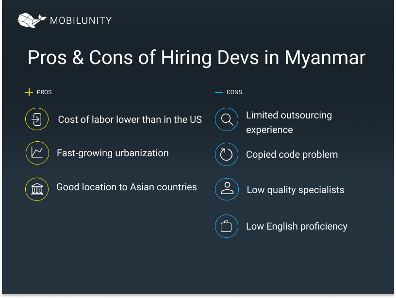 software development outsourcing to Myanmar pros/cons