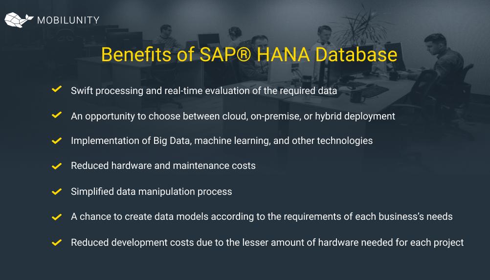 Benefits of SAP® HANA Database