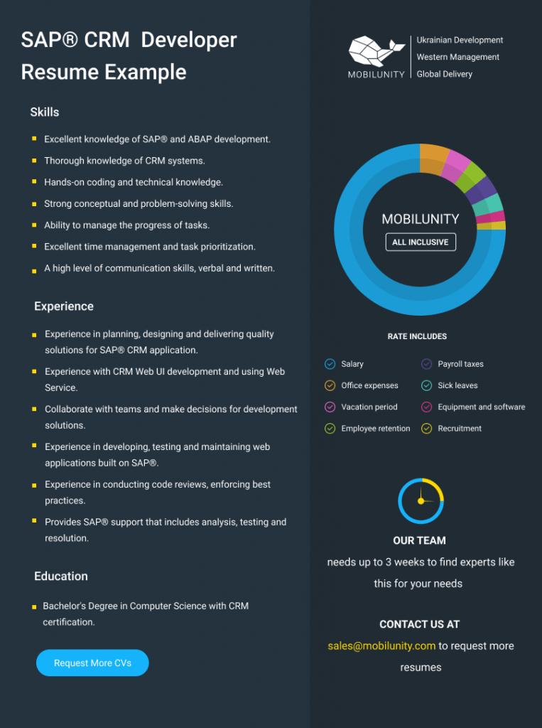 SAP® CRM coder resume