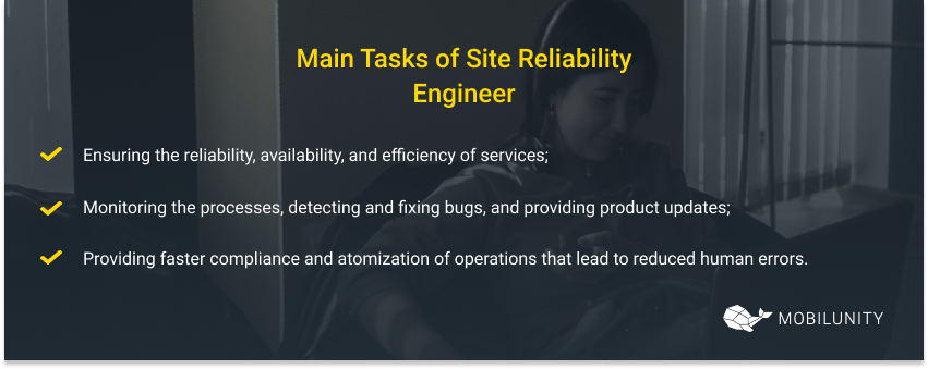 main tasks of site reliability engineer