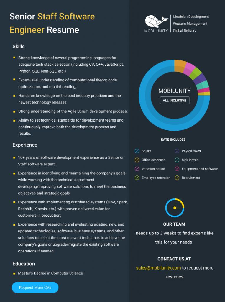 senior staff software engineer resume
