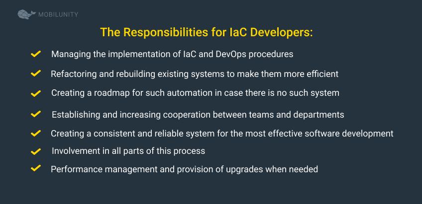 iac developer responsibilities