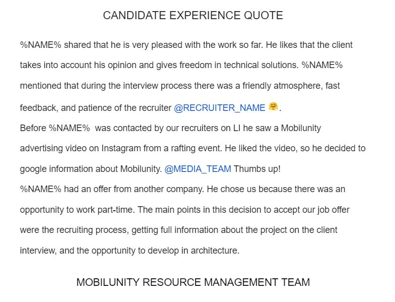 Candidate Experience Note from Mobilunity's CEO